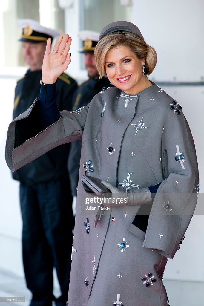 Queen Maxima of the Netherlands, arrives at Copenhagen Airport at the start of a Dutch State visit to Denmark on March 17, 2015 in Copenhagen, Denmark.