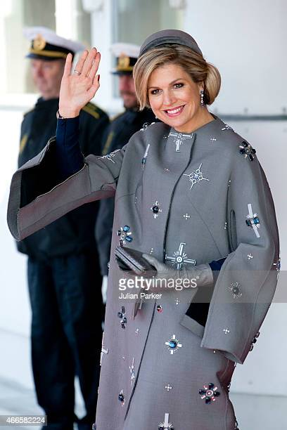 Queen Maxima of the Netherlands arrives at Copenhagen Airport at the start of a Dutch State visit to Denmark on March 17 2015 in Copenhagen Denmark