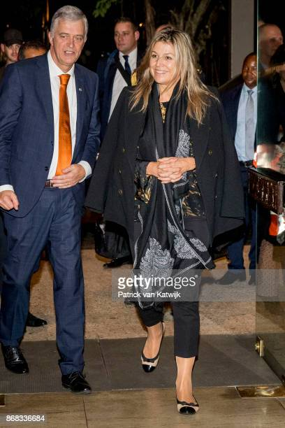 Queen Maxima of The Netherlands arrives at her hotel in Lagos on October 30 2017 in Lagos Nigeria Queen Maxima of The Netherlands visits Nigeria as...