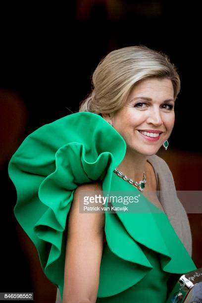 Queen Maxima of The Netherlands arrives at Noordeinde Palace for the gala in honor of the Raad van State Council on September 13, 2017 in The Hague,...
