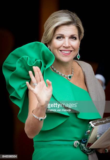 Queen Maxima of The Netherlands arrives at Noordeinde Palace for the gala in honor of the Raad van State Council on September 13 2017 in The Hague...