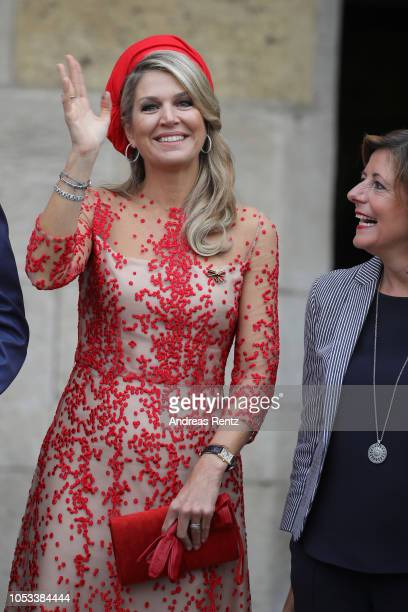 Queen Maxima of The Netherlands arrives at the High Cathedral of Saint Peter in Trier on October 11 2018 in Trier Germany King WillemAlexander of The...