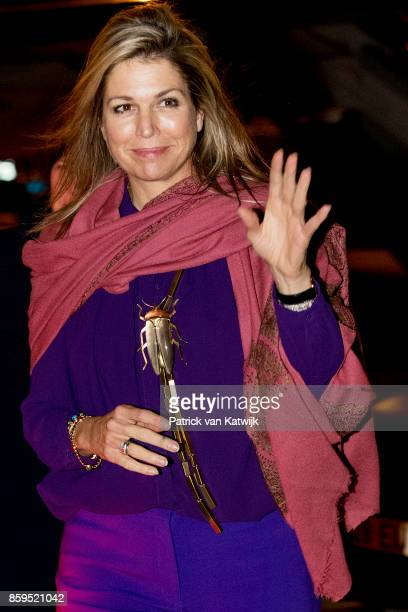 Queen Maxima of The Netherlands arrives at the military airport Figo Maduro on October 09 2017 in Lisboa CDP Portugal