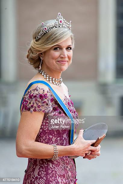 Queen Maxima of the Netherlands arrives at The Royal Chapel at The Royal Palace in Stockholm for The Wedding of Prince Carl Philip of Sweden and...