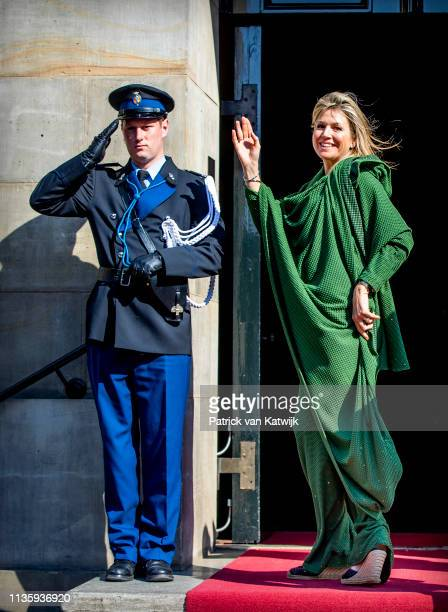 Queen Maxima of The Netherlands arrives at the Royal Palace for the annual gala diner for the Diplomatic Corps on April 09, 2019 in Amsterdam,...