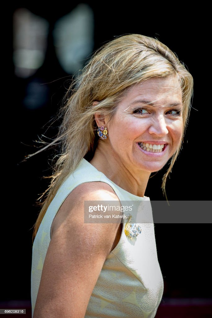 Queen Maxima of The Netherlands arrives at the Royal Palace for the annual palace symposium on June 15, 2017 in Amsterdam, Netherlands. Theme of the symposium is depopulation of the rural area.