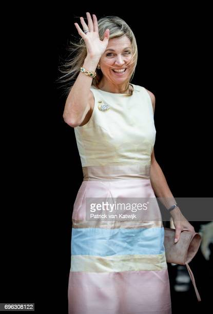 Queen Maxima of The Netherlands arrives at the Royal Palace for the annual palace symposium on June 15 2017 in Amsterdam Netherlands Theme of the...