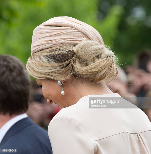 Queen Maxima of The Netherlands arrives at the start of a provicial tour of The Achterhoek on May 6 2014 in Borculo Netherlands