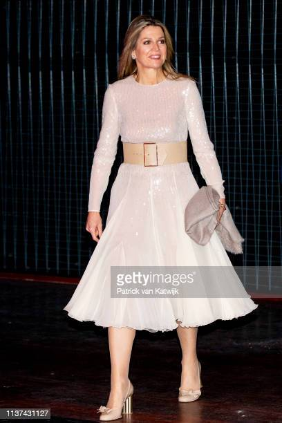 Queen Maxima of The Netherlands arrives at Theater De Flint for the Kingsday Concert on April 15, 2019 in Amersfoort, Netherlands.