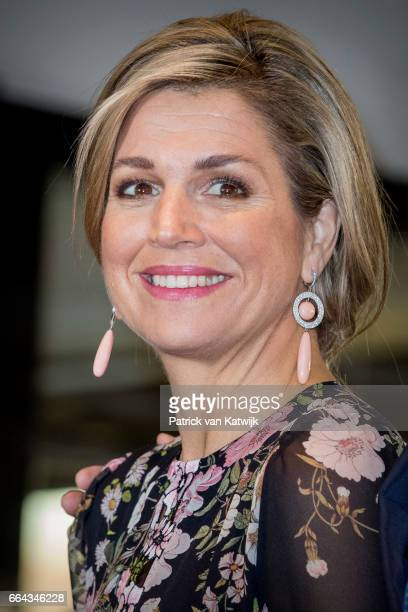 Queen Maxima of the Netherlands arrives at Theater Tilburg for the Kingsday concert on April 4 2017 in Tilburg The Netherlands