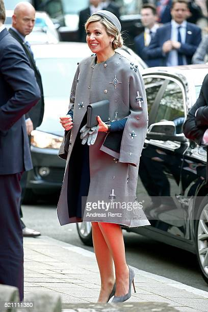 Queen Maxima of the Netherlands arrives at Tucherschloss on April 14 2016 in Nuremberg Germany King WillemAlexander and Queen Maxima are on a twoday...