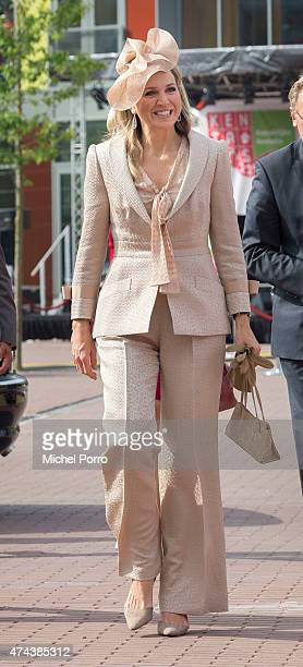 Queen Maxima of The Netherlands arrives before opening the new Koninklijke Kentalis diagnostic care education centre for people with a hearing and or...