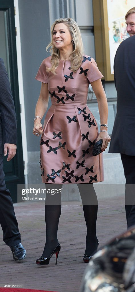 Queen Maxima of The Netherlands (wearing dress by Flemish designer Natan) arrives for festivities marking the final celebrations of 200 years Kingdom of The Netherlands on September 26, 2015 in Amsterdam, Netherlands.