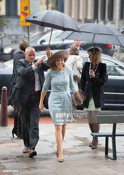 Queen Maxima of The Netherlands arrives for the opening of the new visitor center of the Netherlands Bank on September 22, 2015 in Amsterdam,...