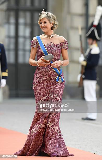 Queen Maxima of the Netherlands arrives for the wedding of Sweden's Crown Prince Carl Philip and Sofia Hellqvist at Stockholm Palace on June 13 2015...