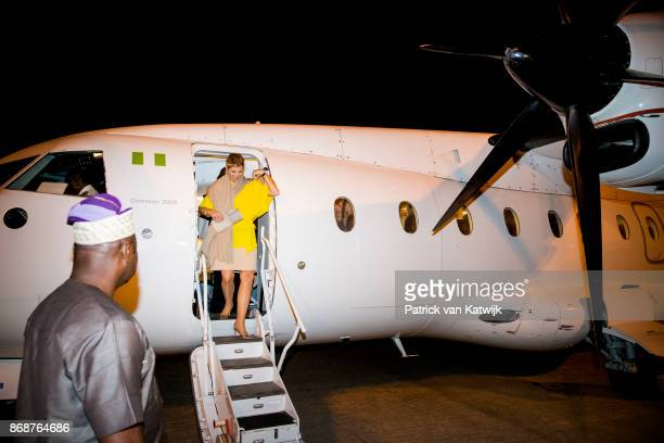 Queen Maxima of The Netherlands arrives on the airport of Abuja on October 31 2017 in Abuja Nigeria Queen Maxima of The Netherlands visits Nigeria as...