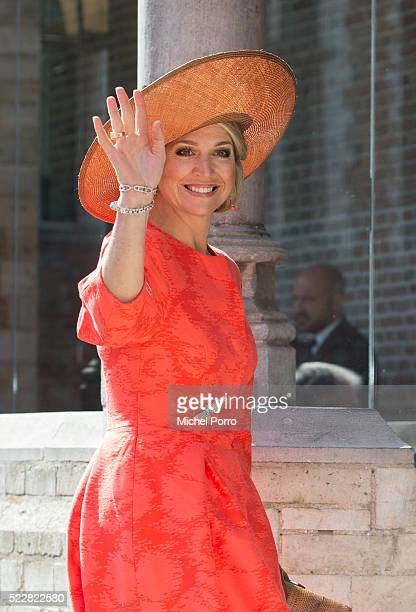 Queen Maxima of The Netherlands arrives to attend the Four Freedoms Awards on April 21 2016 in Middelburg Netherlands