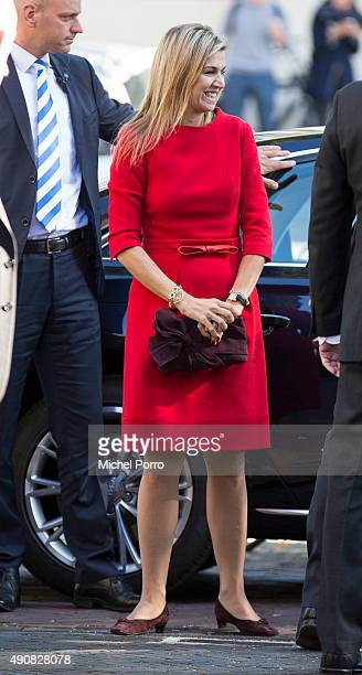 Queen Maxima of The Netherlands arrives to attend the symposium 'China in The Netherlands' on October 1 2015 in Leiden Netherlands