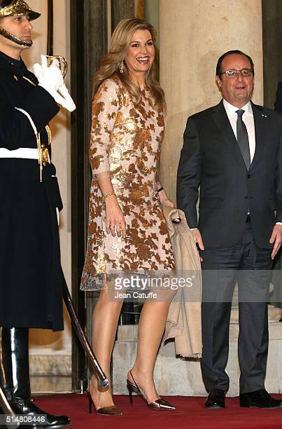 Queen Maxima of The Netherlands arrives to the State Dinner in honor of the royal couple of the Netherlands at Elysee Palace on March 10 2016 in...