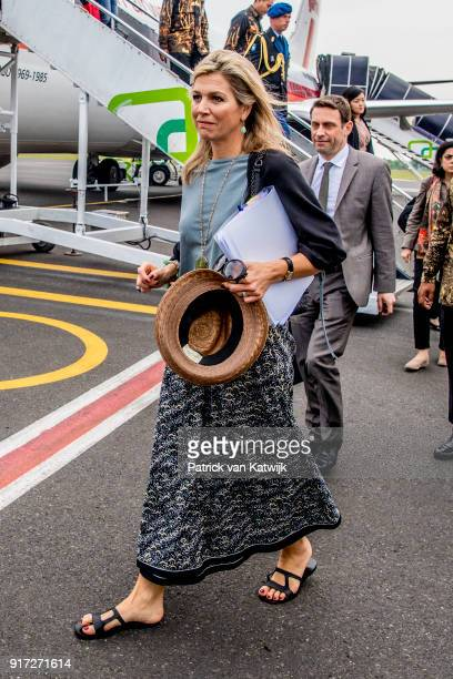 Queen Maxima of The Netherlands arrives to visit corn farmers on February 12 2018 in Bandar Lampung IndonesiaQueen Maxima is visiting Indonesia as...