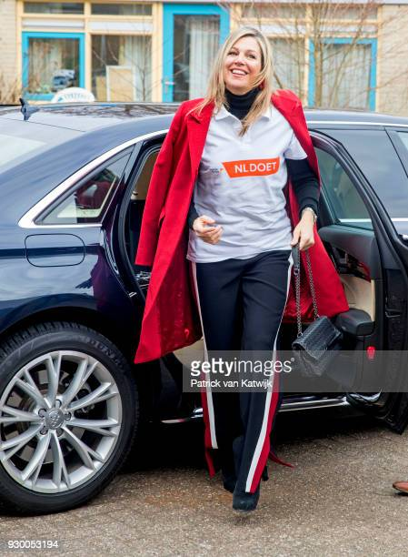 Queen Maxima of The Netherlands arrives to volunteer during the NL Doet at residential care centre 't Hofland in Pijnacker on March 10 2018 in...