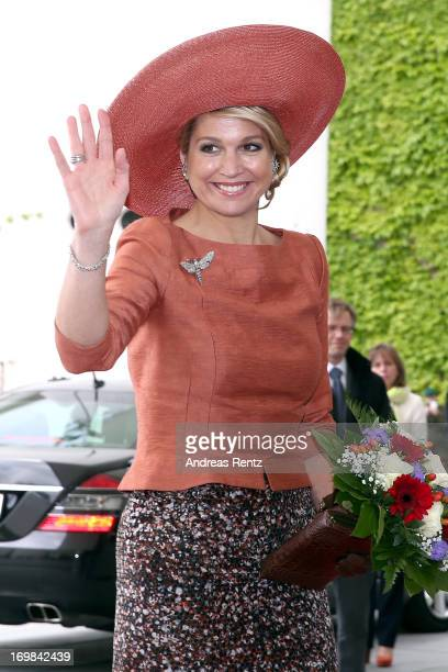 Queen Maxima of The Netherlands at a meeting with german Chancellor Angela Merkel at Chancellery on June 3 2013 in Berlin Germany