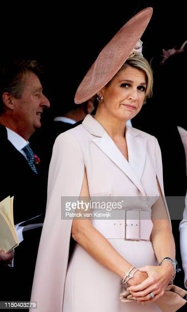 Queen Maxima of The Netherlands at St George's Chapel on June 17 2019 in Windsor England