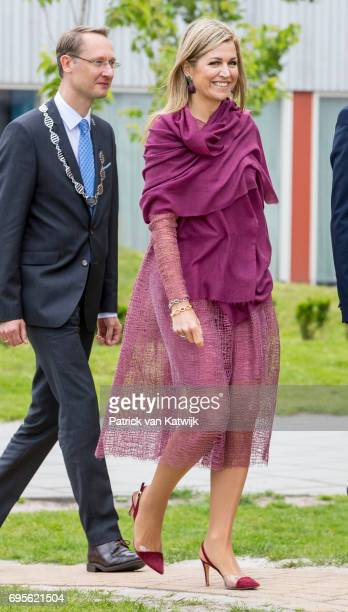 Queen Maxima of The Netherlands attends a Burendag event where she gave the start signal for the 12 edition of Neighbour's Day on June 13 2017 in...