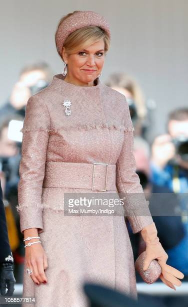 Queen Maxima of the Netherlands attends a ceremonial welcome at Horse Guards Parade as she and King Willem-Alexander of the Netherlands begin a two...