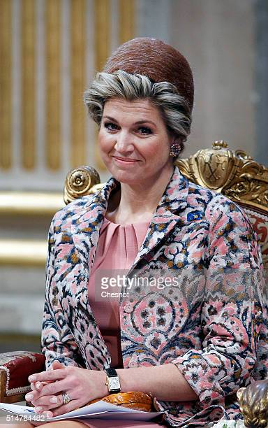 Queen Maxima of the Netherlands attends a ceremony at the Paris city hall on March 11 2016 in Paris France Queen Maxima and King WillemAlexander of...