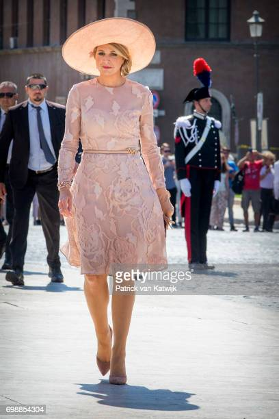 Queen Maxima of The Netherlands attends a commemoration ceremony and lay down a wreath at the Altare della Patria during the first day of a royal...