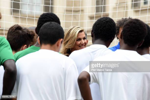 Queen Maxima of The Netherlands attends a football clinic for integration organized by Italian Football Federation at Piazzetta Reale on June 22 2017...