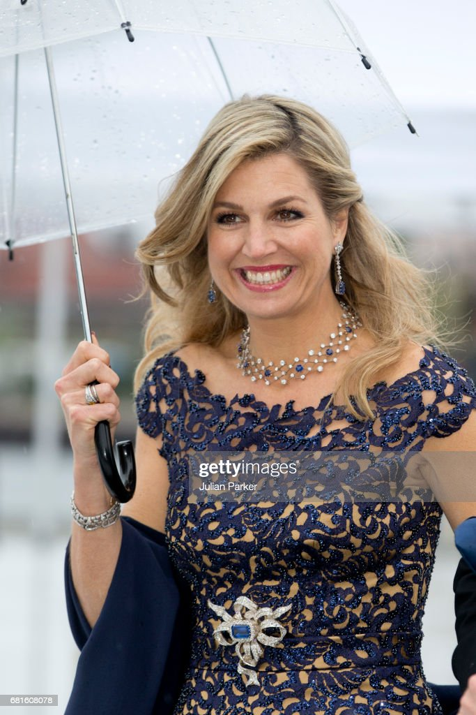 Queen Maxima of The Netherlands attends a Gala Banquet hosted by The Government at The Opera House as part of the Celebrations of the 80th Birthdays of King Harald and Queen Sonja of Norway. on May 10, 2017 in Oslo, Norway.