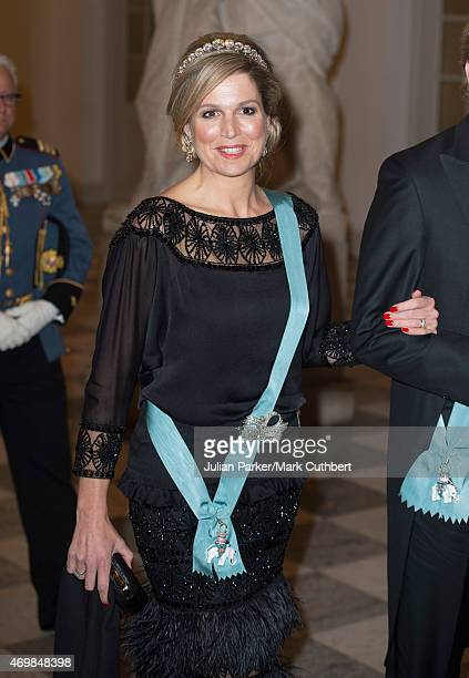 Queen Maxima of the Netherlands attends a gala dinner at Christiansborg Palace on the eve of the 75th Birthday of Queen Margrethe II of Denmark on...
