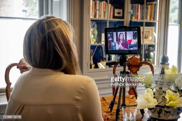 Queen Maxima of the Netherlands attends a meeting of the United Nations from Huis Ten Bosch in the Hague, on September 23, 2020. / Netherlands OUT