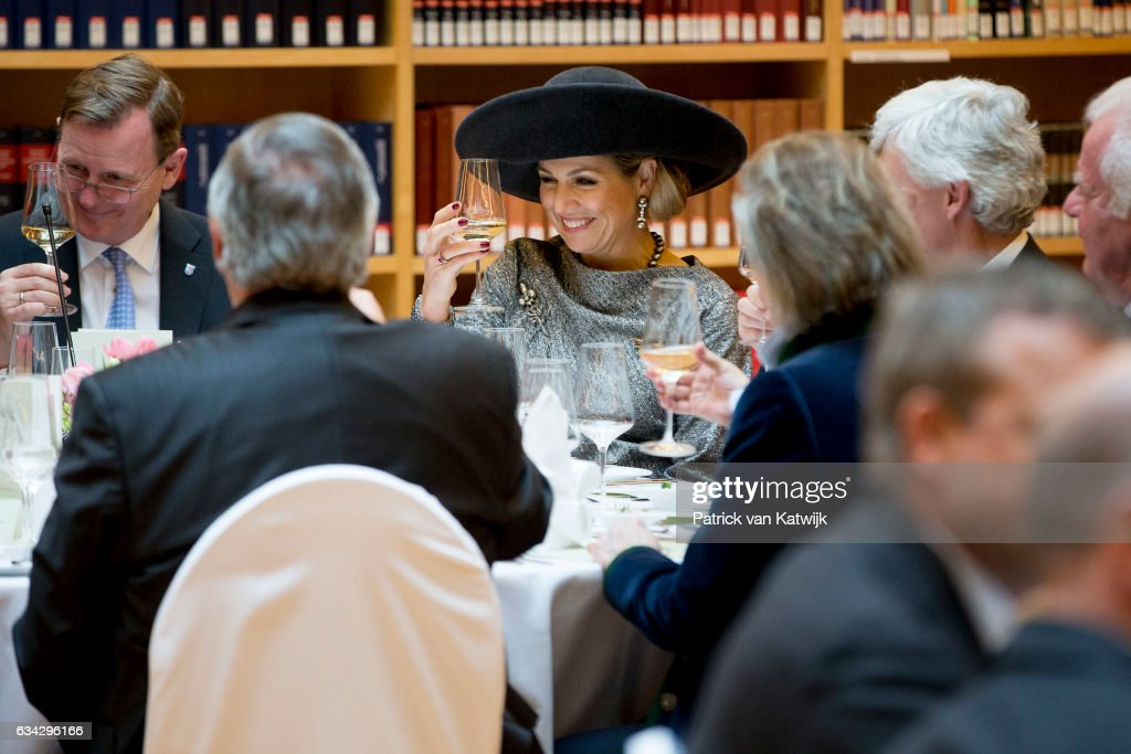 Queen Maxima of The Netherlands attends an lunch hosted by Prime Minister Bodo Ramelow at the new library during their 4 day visit to Germany on February 08, 2017 in Erfurt, Germany.