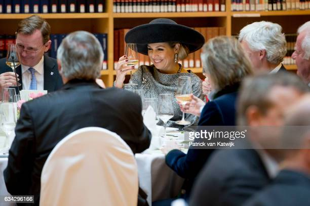Queen Maxima of The Netherlands attends an lunch hosted by Prime Minister Bodo Ramelow at the new library during their 4 day visit to Germany on...