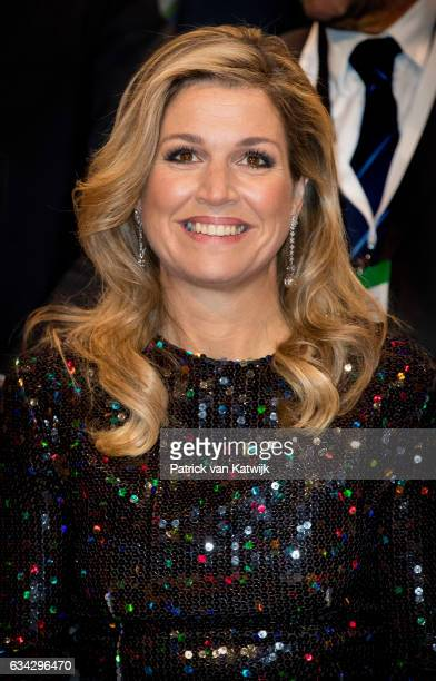 Queen Maxima of The Netherlands attends an trade dinner in the Kongresshalle am Zoo during their 4 day visit to Germany on February 08 2017 in...