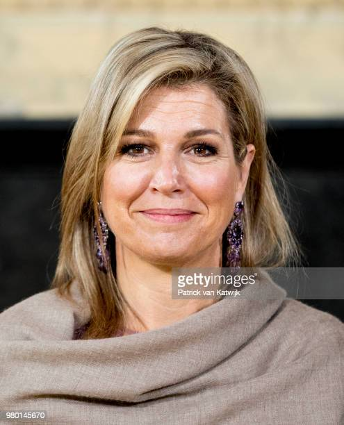 Queen Maxima of The Netherlands attends the 10th anniversary of Wijzer in Geldzaken financial education for young people on June 21 2018 in The Hague...