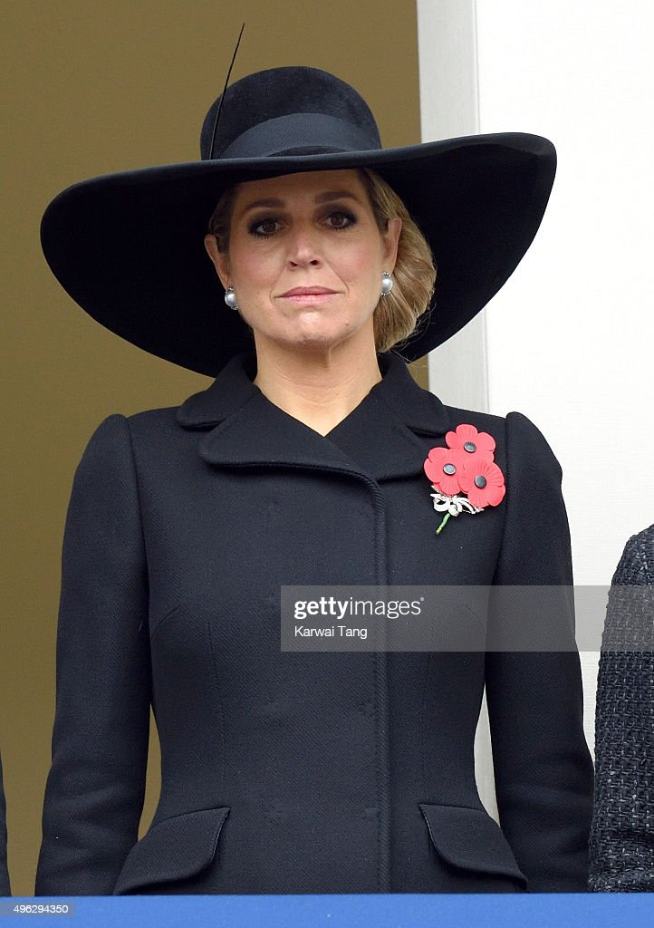 Queen Maxima of the Netherlands attends the annual Remembrance Sunday Service at the Cenotaph, Whitehall on November 8, 2015 in London, England.