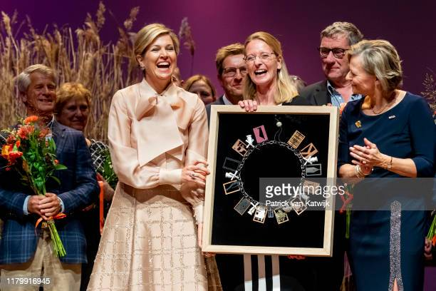 Queen Maxima of The Netherlands attends the award ceremony of the Prince Bernhard Culture Foundation to the Hollandse Molen Association in the...