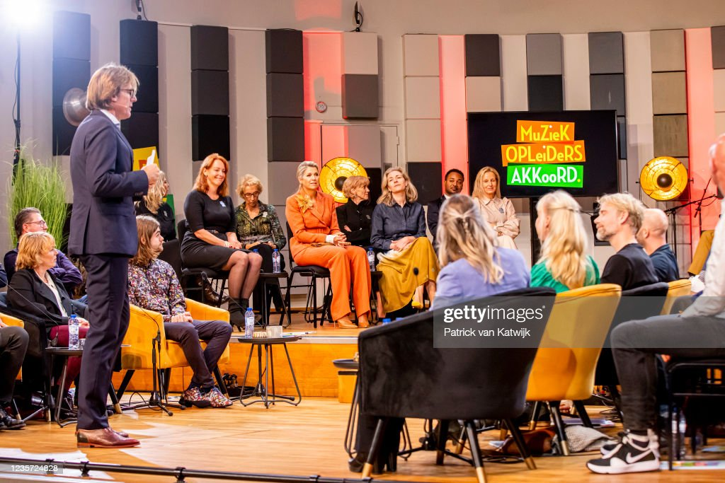Queen Maxima Of The Netherlands Attends The Anniversary Music Educators Agreements In Utrecht : Nieuwsfoto's