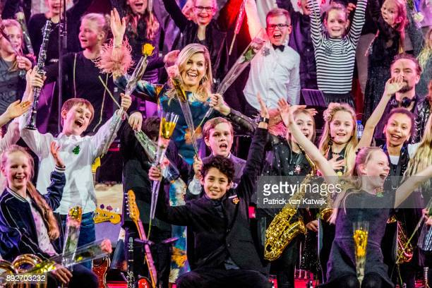 Queen Maxima of The Netherlands attends the Christmas gala concert for the best school band on December 14 2017 in Rotterdam Netherlands