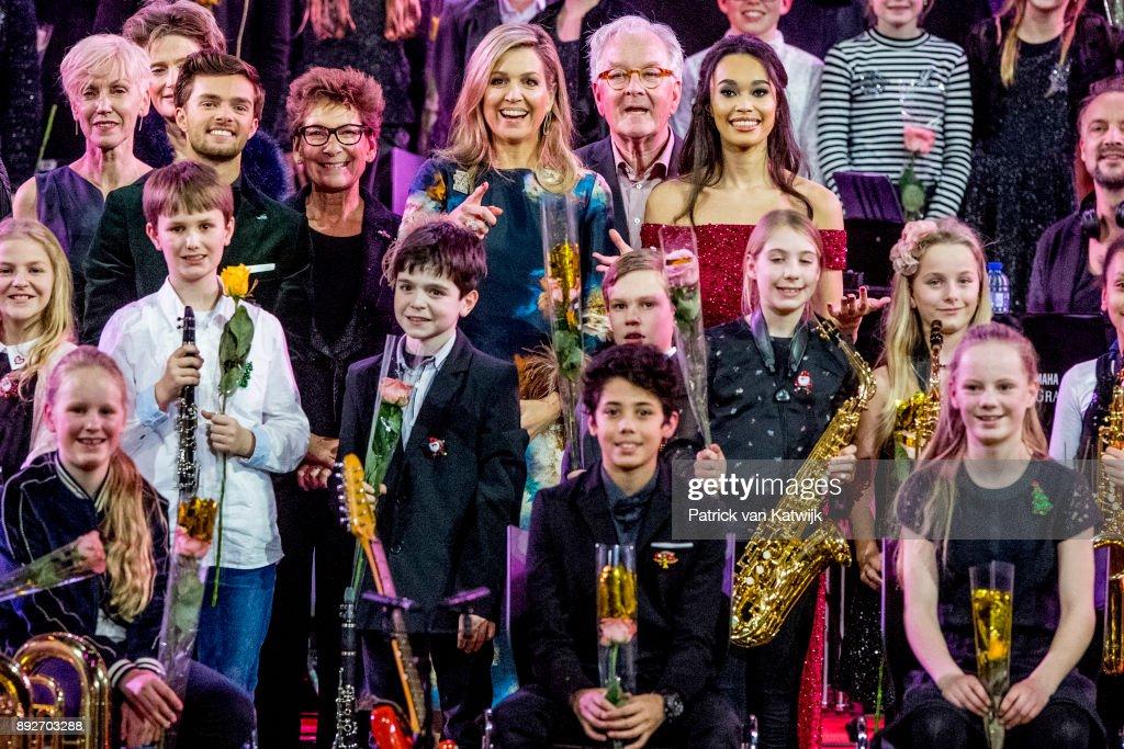 Queen Maxima Attends Christmas  Concert of Biggest Schoolband - Ahoy Rotterdam : Nieuwsfoto's