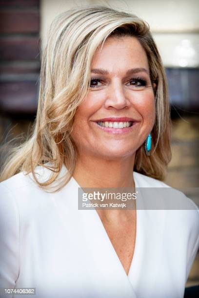 Queen Maxima of The Netherlands attends the Christmas gala of the Biggest schoolband of the Netherlands in the Brabanthallen on December 19, 2018 in...