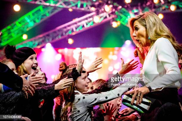 Queen Maxima of The Netherlands attends the Christmas gala of the Biggest schoolband of the Netherlands in the Brabanthallen on December 19 2018 in...