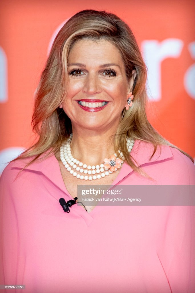 Queen Maxima Attends Digital Award Ceremony Appeltjes van Oranje : News Photo
