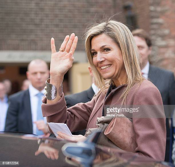 Queen Maxima of The Netherlands attends the five year anniversary celebration of Schulhulpmaatje on February 16, 2016 in Leiden Netherlands....