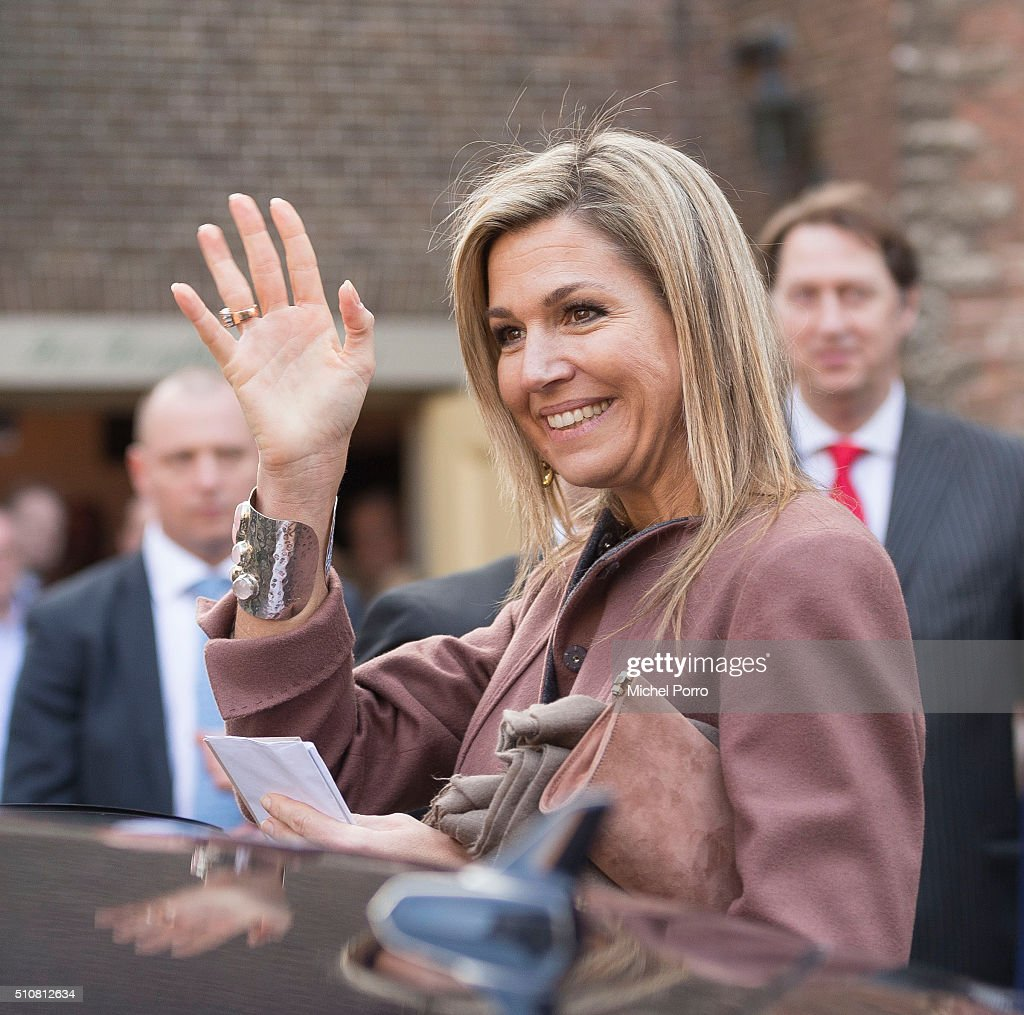 Queen Maxima Of The Netherlands Attends Five Years Schuldhulpmaatje : News Photo