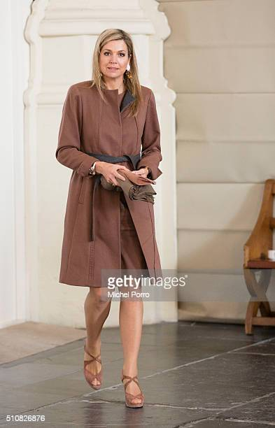 Queen Maxima of The Netherlands attends the five year anniversary celebration of Schulhulpmaatje on February 16, 2016 in Leiden, Netherlands....